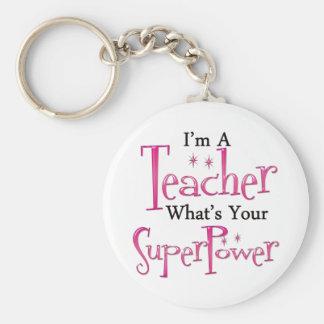 Super Teacher Basic Round Button Key Ring