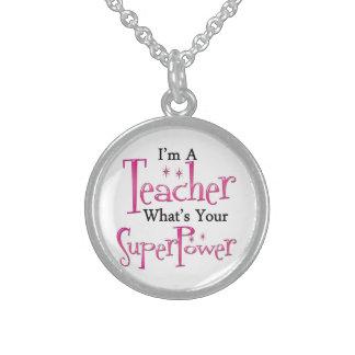 Super Teacher Round Pendant Necklace