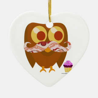 Super Trendy Bacon Mustache Owl Ceramic Heart Decoration