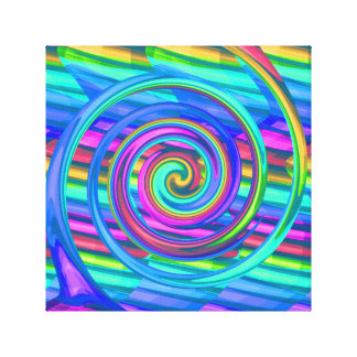 Super Turquoise Rainbow Spiral With Stripes Design Canvas Print