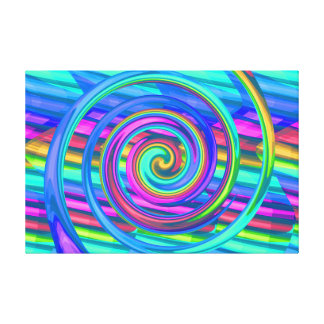 Super Turquoise Rainbow Spiral With Stripes Design Stretched Canvas Prints