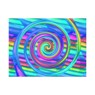 Super Turquoise Rainbow Spiral With Stripes Design Canvas Prints