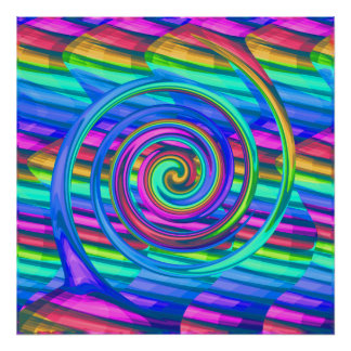 Super Turquoise Rainbow Spiral With Stripes Design Poster