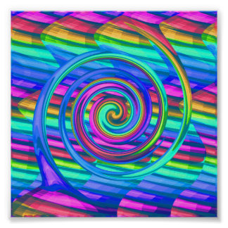 Super Turquoise Rainbow Spiral With Stripes Design Print