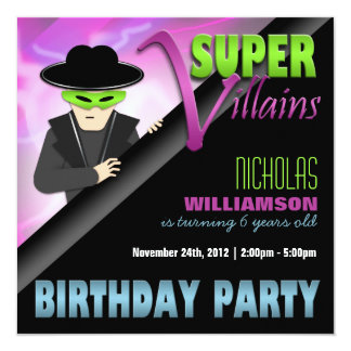 Super Villains Birthday Party Invitations