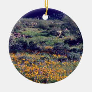 Super-Wide Poppies flowers Christmas Ornament