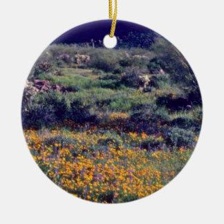 Super-Wide Poppies flowers Round Ceramic Decoration