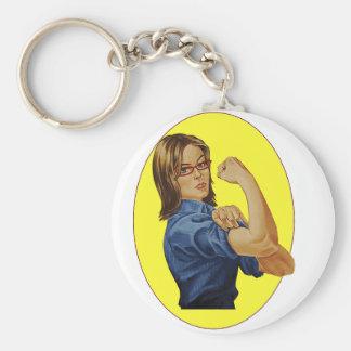 Super Woman Basic Round Button Key Ring
