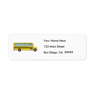 Super Yellow School Bus Return Address Label