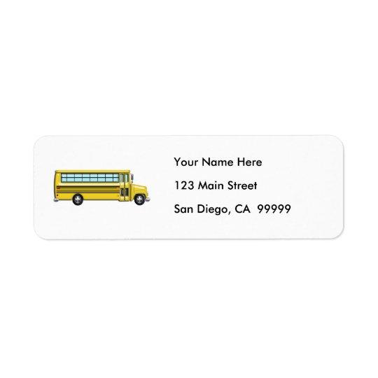 Super Yellow School Bus Return Address Label