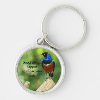 Superb Starling Bird Quotation KeyChain