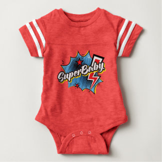 SuperBABY superhero comic bodysuit baby gift RED