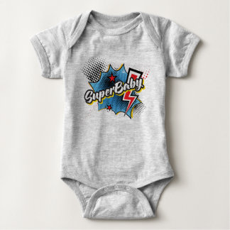 SuperBABY superhero comic bodysuit gift GRAY