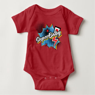 SuperBABY superhero comic bodysuit gift RED