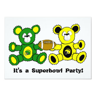Superbowl Bears - It's a Superbowl Party! 13 Cm X 18 Cm Invitation Card