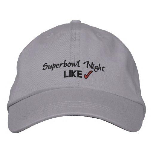 SUPERBOWL NIGHT EMBROIDERED BASEBALL CAPS