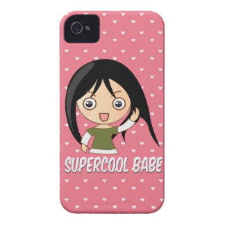 Supercool babe chick girly pink hearts pattern iPhone 4 Case-Mate case