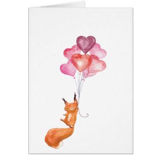 Supercute watercolor acorn with heart balloons card