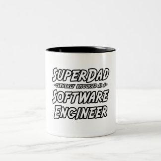 SuperDad...Software Engineer Two-Tone Coffee Mug