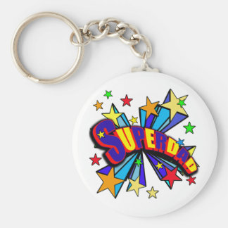 SuperDad! with Stars and Cartoon Design Key Chain