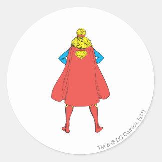 Supergirl Back View Classic Round Sticker