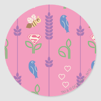 Supergirl Birds, Bees, Trees Round Sticker