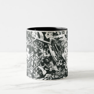Supergirl Black and White Collage Two-Tone Coffee Mug