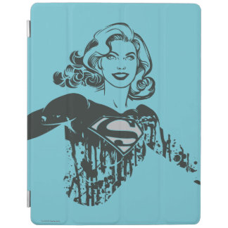 Supergirl Black and White Drawing 1 iPad Cover