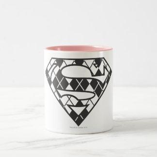 Supergirl Black Argyle Logo Two-Tone Coffee Mug