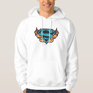 Supergirl Blue Logo with Flames Hoodie