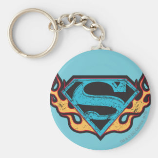 Supergirl Blue Logo with Flames Key Ring