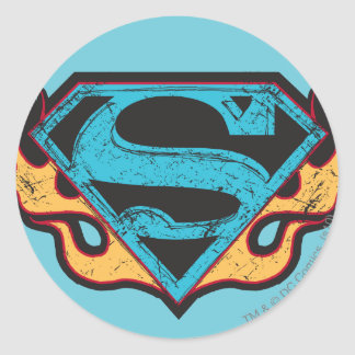 Supergirl Blue Logo with Flames Sticker