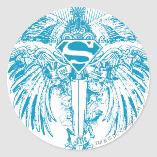 Supergirl Blue Wings Classic Round Sticker