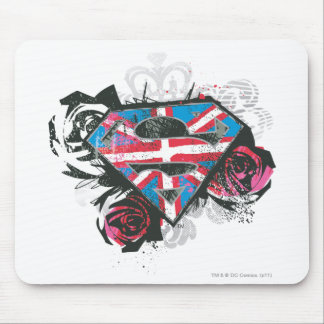 Supergirl British Flag and Roses Mouse Mat