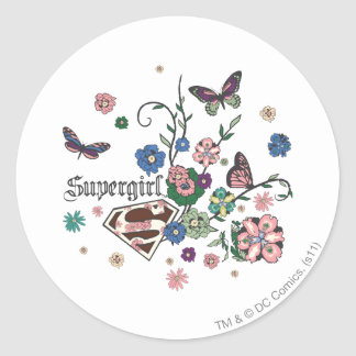 Supergirl Butterflies Classic Round Sticker