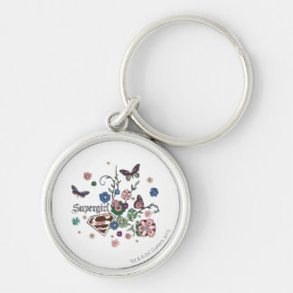 Supergirl Butterflies Silver-Colored Round Key Ring