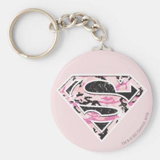 Supergirl Camouflage Logo Basic Round Button Key Ring