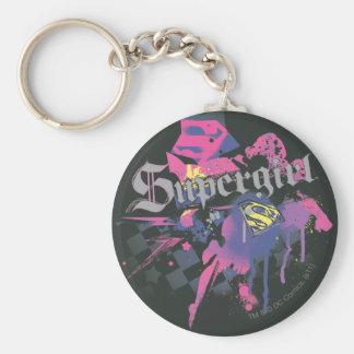 Supergirl Checkered Splatter Key Ring