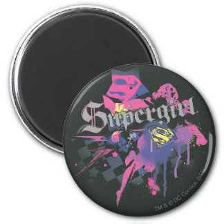 Supergirl Checkered Splatter Magnet