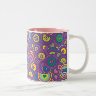 Supergirl Circle Purple Pattern Two-Tone Coffee Mug