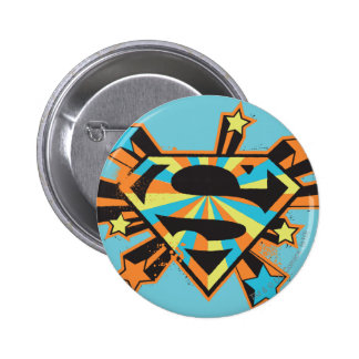 Supergirl Colorful Stars Logo 6 Cm Round Badge