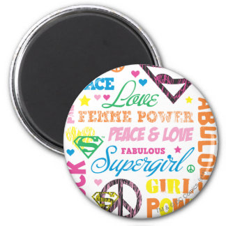 Supergirl Colorful Text Collage Magnet