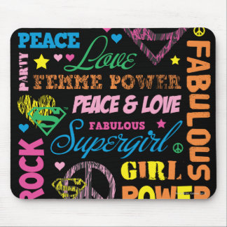 Supergirl Colorful Text Collage Mouse Mat