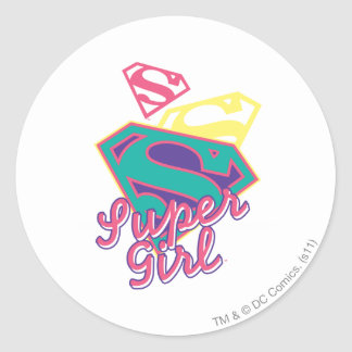 Supergirl Cursive Classic Round Sticker