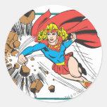 Supergirl Destroys Boulder Round Sticker