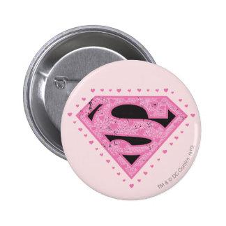 Supergirl Distressed Logo Black and Pink 6 Cm Round Badge