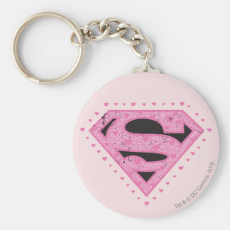 Supergirl Distressed Logo Black and Pink Key Ring