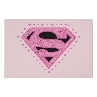 Supergirl Distressed Logo Black and Pink Poster