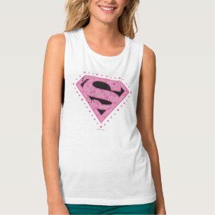 13f3dcd6cd5c3c Supergirl Distressed Logo Black and Pink Tank Top