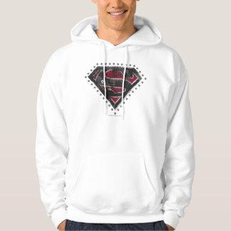 Supergirl Distressed Logo Black and Red Hoodie